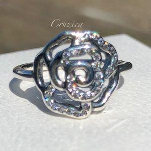 Pandora Shimmering Delicate Rose Ring Size 6